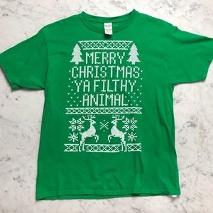 NWOT Merry Christmas Home Alone Filthy Animal Teee